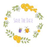Wunderlicher Hochzeitskranz mit Blumen und Wanzen vektor abbildung