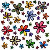 Wunderliches Gekritzel-Blumenhintergrund-Design Stockbild