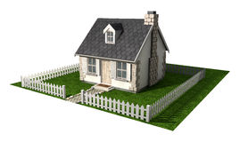 Wunderliches Häuschen-Haus mit Garten-und Pfosten-Zaun Lizenzfreies Stockbild