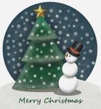 Wunderliches snowlandscape mit Schneemann- und Weihnachtsbaum 4000 px Stockfotografie