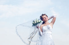 Wundervolle und romantische Braut Stockfotos