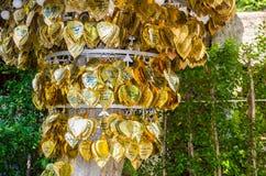 Wunsch Zeremonie durch das Hängen eines Goldblattes Buddha am großen Baum lizenzfreie stockfotos
