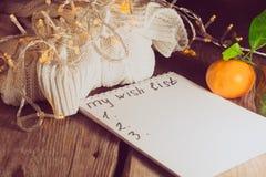 Wunschliste für Weihnachten und Strickjacke Lizenzfreies Stockfoto