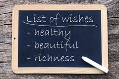 Wunschliste - Gesundheit, Schönheit, Reichtum stockbild