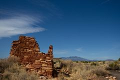 Wupatki National Monument near Flagstaff, Arizona, preserves and protects this ancient Anasazi ruin, called Lomaki Pueblo Stock Image