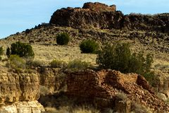 Wupatki National Monument preserves and protects ancient Native American ruins in northern Arizona. Box Canyon is an Anasazi ruin in Wupatki National Monument in Royalty Free Stock Image