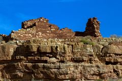 Wupatki National Monument preserves and protects ancient Native American ruins in northern Arizona. Box Canyon is an Anasazi ruin in Wupatki National Monument in Royalty Free Stock Photography