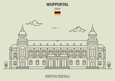 Wuppertal Stadthalle in Wuppertal, Germany. Landmark icon vector illustration