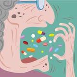 Wurf der alten Frau viele Pillen herein zu ihrem Mund Stockfotos