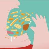 Wurf des dicken Mannes viel Lebensmittel herein zu seinem Mund Lizenzfreies Stockbild
