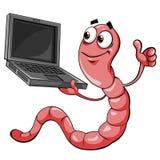 Wurm mit Laptop lizenzfreie abbildung