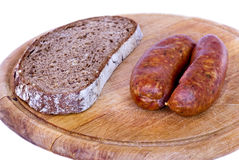 Wurst mit Brot Lizenzfreie Stockbilder