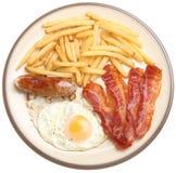 Wurst, Speck, Ei und Chips Breakfast Lizenzfreie Stockfotografie