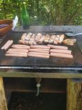 Barbecue sausages stock photography