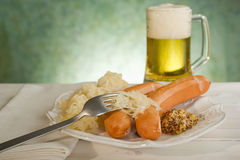 Wurstel sausage with sauerkraut Stock Photos