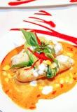 Wurststeak mit Curry sause stockbilder
