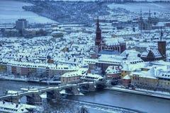 Wurzburg e vecchio ponticello principale Germania Fotografia Stock Libera da Diritti