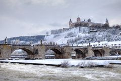 Wurzburg Germany. Old Main Bridge and Fortress Marienberg in the background, Wurzburg Germany royalty free stock images