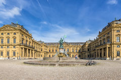Wurzburg Residence and statue Frankonia fountain Stock Photo