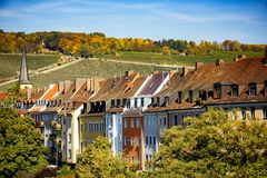 Wurzburg, view of the hills with vineyards, behind the city. Authentic beautiful towns of Germany. Northen Bavaria, Germany. stock photography