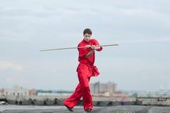 wushoo för red för övning för konstman krigs- Royaltyfri Fotografi