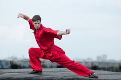 Wushoo man in red practice martial art Royalty Free Stock Photo