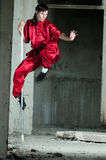 Wushoo man in red practice martial art stock photography