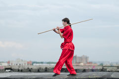 Wushoo man in red practice martial art Royalty Free Stock Images