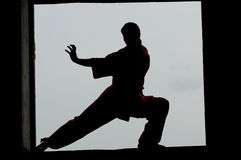 Wushoo man in red practice martial art Royalty Free Stock Photography