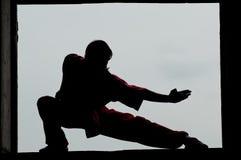 Wushoo-Mann in der roten Praxiskampfkunst Stockbilder