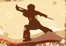 Wushu. Grunge background with an abstract wave. The silhouette of chinese KongFu Stock Photography