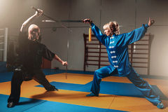 Wushu fighters, man and woman with swords Stock Images