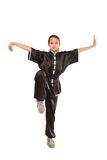 Wushu girl stance Royalty Free Stock Images