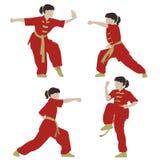 Wushu girl. Young girl in a pose of Wushu Stock Image
