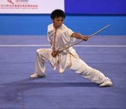 Wushu gun shu performance Royalty Free Stock Images