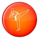 Wushu master icon, flat style. Wushu master icon in red circle isolated on white background vector illustration Stock Photos