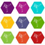 Wushu master icon set color hexahedron. Wushu master icon set many color hexahedron isolated on white vector illustration Royalty Free Stock Photos