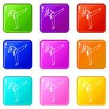 Wushu master icons 9 set. Wushu master icons of 9 color set isolated vector illustration Royalty Free Stock Photo