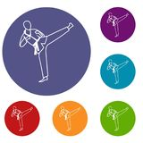 Wushu master icons set. In flat circle reb, blue and green color for web Stock Image