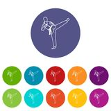 Wushu master set icons. In different colors isolated on white background Stock Image