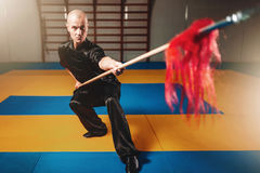Wushu master training with spear, martial arts Royalty Free Stock Photography