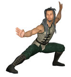 Wushu Pose. 3d render of an Asian man in a martial arts pose Stock Photo