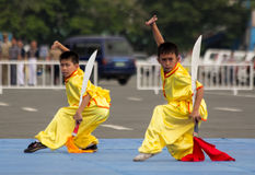 Wushu showdown Stock Photography