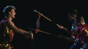 Wushu utbildningskamp stock video