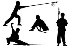 Wushu. Vector set of silhouettes: Boy show Wushu Tao with a stick and spear Royalty Free Stock Photos