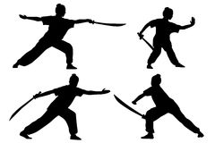 Wushu. Vector set of silhouettes: girl show Wushu with saber Stock Photo