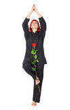 Wushu Woman With Red Rose Stock Images