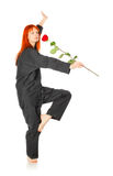 Wushu Woman With Red Rose Stock Photo