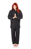 Wushu Woman Regards. Girl in black kimono regards, isolated on white Stock Photos
