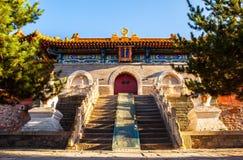 Wutaishan (góra Wutai) scena. Główna brama Buddha wierzchołka świątynia. (Pusa Ding) Obrazy Stock